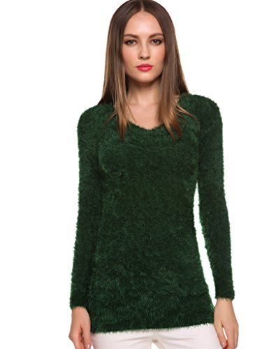 (VIGVOG Casual Fuzzy Sweater Mohair Scoop Neck Cute Pullover Kintted Top)