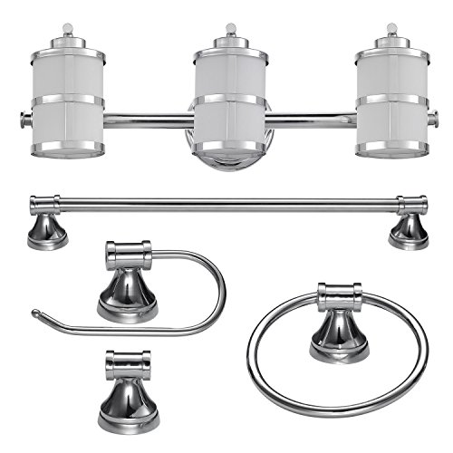 Globe Electric 51285 Kennewick 5-Piece All-in-One Bath Set, Polished Chrome Finish, 3-Light Vanity Bar, Towel Ring, Toilet Paper Holder, Robe Hook, 0