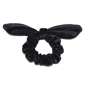 Topdo 1 Pcs Velvet Hair Scrunchies Colorful Elastic Hair Rope Ponytail Holder Lady Hair Bands Cute Rabbit Ear Hair Bow…