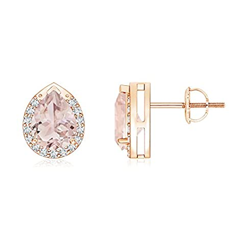 Diamond Halo Pear Shaped Morganite Stud Earrings in 14K Rose Gold (7x5mm Morganite)