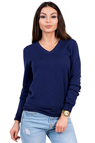 KNITTONS Women's Wool Classic Slim Fit V-Neck Sweater Pullover (Medium, Navy)