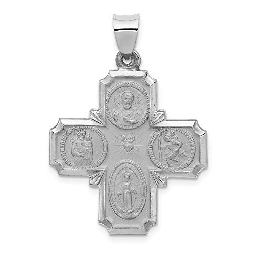 Jewelry Pendants & Charms Themed Charms 14k White Gold Four Way Medal Pendant
