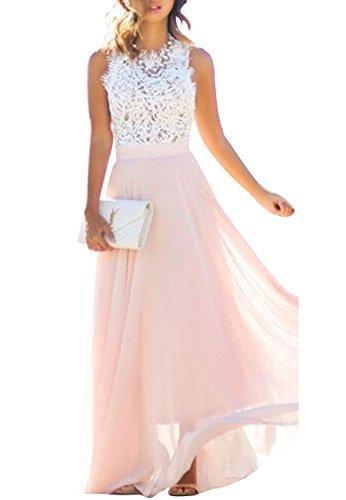 Gasa la L Maxi Vestido de de Vestido Rosa de Vendimia Elegante Boda Noche la de OMZIN Fiesta ERCqwF