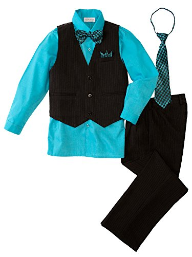 (Spring Notion Baby Boys' 5 Piece Pinstriped Vest Set Turquoise Size 2T)