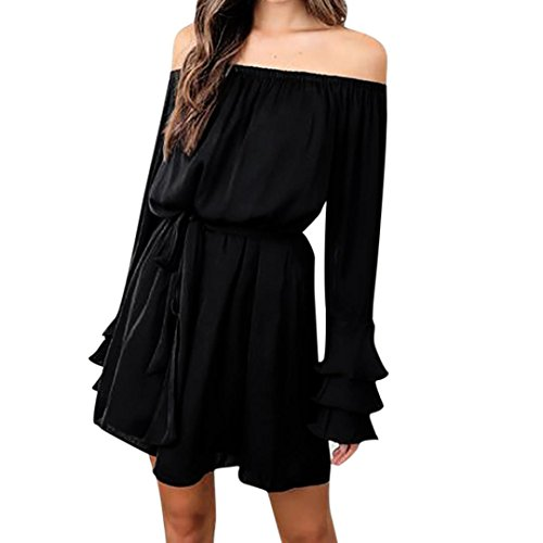 Womens Dress, Gillberry Women's Sexy Party Off Shoulder Long Sleeve Cocktail Mini Dress (S, (Womens Leather Scooter Striped Jacket)