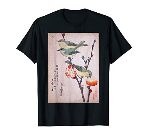 Japanese Art Birds on Peach Tree Blossom Japanese Woodblock