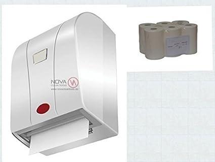 Set Dispensador: Papel Enrollado Toalla Dispensador con Sensor Blanco con Papel Rollo 6 Rll.