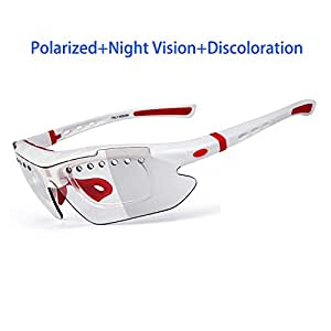 Gafas Polarizadas Deporte Bici Anti UV400 Gafas para Correr Running Antivaho con 3 Lentes Intercambiables Adaptadas También A Ciclismo Bicicleta De Montaña MTB,White