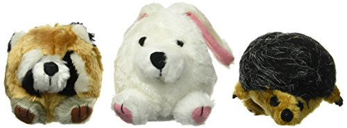 Petmate Squatter Ball Shaped Dog Toys featuring a Raccoon, Hedgehog and Rabbit, 3-pack, Medium ()