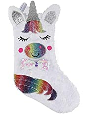 """LED Creative Unicorn Christmas Stocking 18"""" x 10"""" Illuminate Christmas Stockings Unicorn Sequins Stockings for Christmas Decorations for Family Holiday Xmas Party Decorations"""