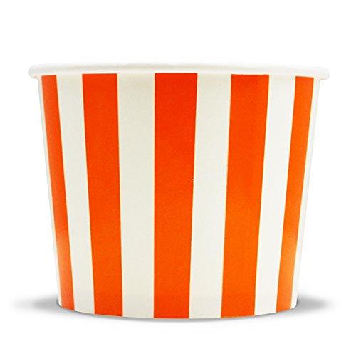 Frozen Dessert Supplies 12 oz Orange Striped Madness Pape...