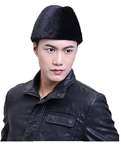 YR Lover Men's Sealskin & Mink Fur Trapper Hats Outdoor Earmuffs Beret Hat