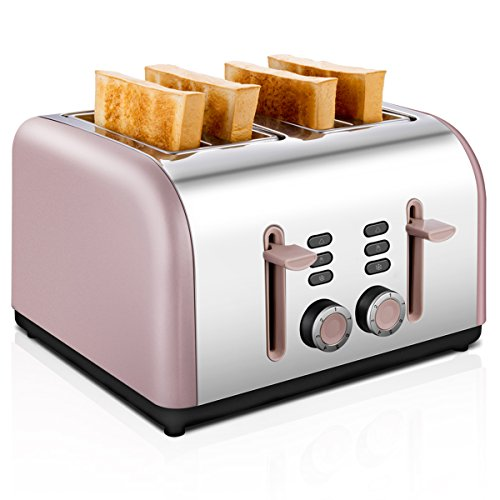 4-Slice Toaster, CUSIBOX Stainless Steel Toaster 4 Wide Slots with 7 Bread Browning Settings, REHEAT/DEFROST/CANCEL Function, 1400W, Rose Gold