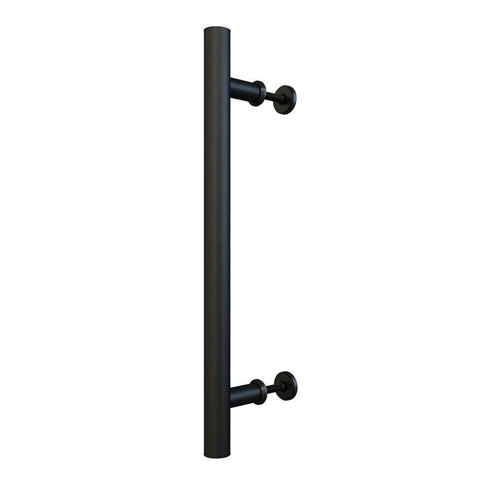 15-3//4in Matte Black Steel Side Mount Pipe Handle Pull for Sliding Barn Door