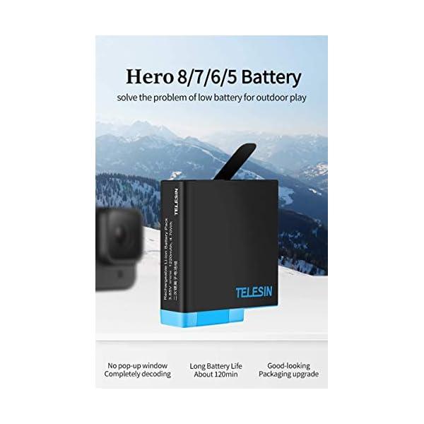 TELESIN Caricabatteria tripla e scatola di immagazzinaggio di batteria con caricabatteria a 3 canali con 2 batterie ricaricabili agli ioni di litio per Gopro Hero 8 Black, Hero 7/6/5 Black 2 spesavip
