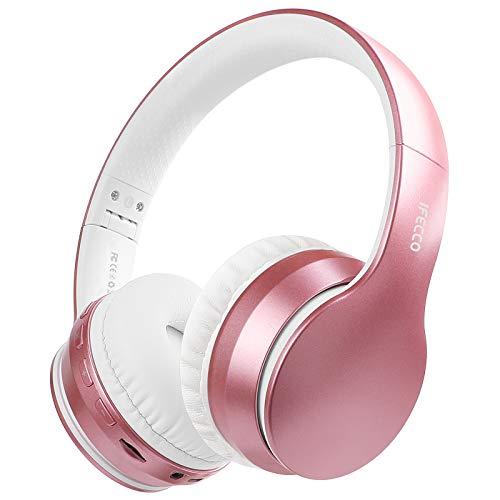 Cascos Bluetooth Diadema, Estéreo Música Auriculares Cerrados Inalámbricos Plegables HiFi con Micrófono Incorporado y Cable, Soporte Micro SD/TF/FM, para Móviles/TV/PC/MP3(Oro Rosa)