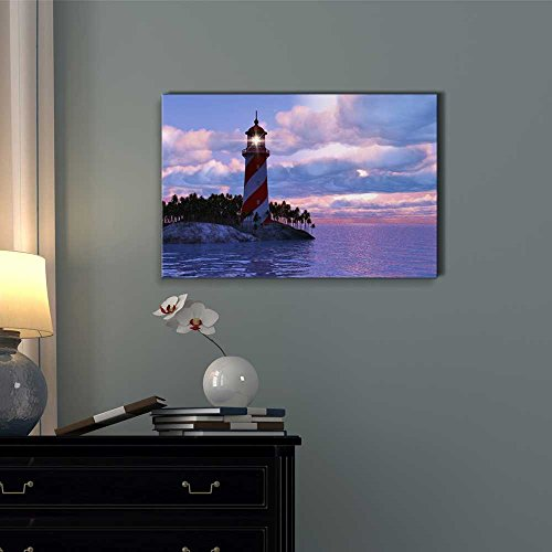 Beautiful Scenery of Dramatic Sunset with Lighthouse on Island in Sea Wall Decor ation