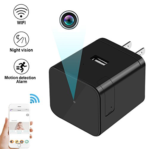 Hd 1080p Night Vision (Night Vision - HD WIFI 1080P Nanny Camera Mini USB Adapter Cam Covert Camera Wall Charger Wireless IP Camera Motion Detection Alarm)