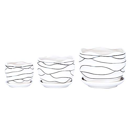3 Pack Ceramic Flower Plant Pot with Saucers, Size 4'' 5'' and 6'' (Modern)