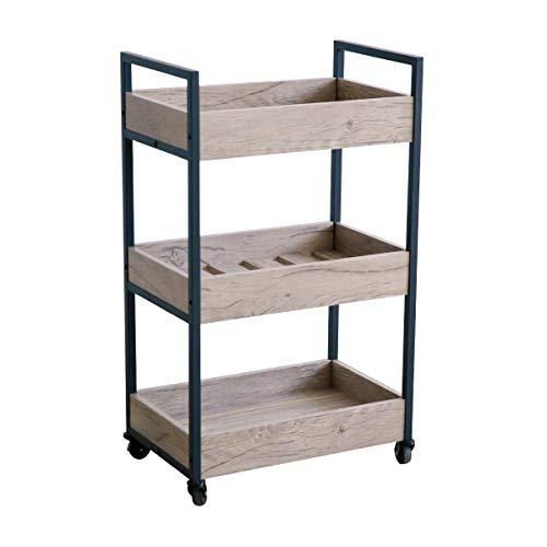 (Roomfitters 3 Tier Rolling Utility Storage Cart, Kitchen Serving Bar Cart, Multipurpose Bathroom Nursery, Oak)