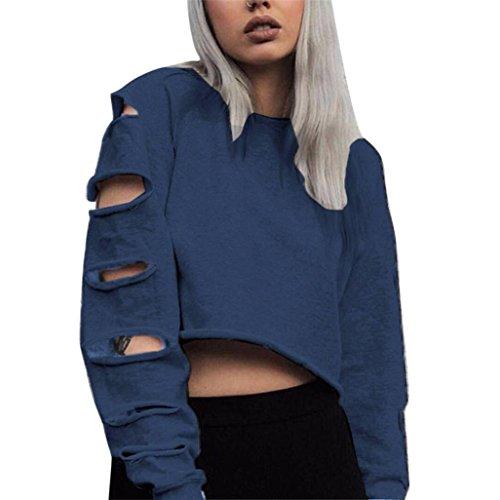 - WM&MW Women Sexy Crop Top Long Sleeve Hollow Ripped Hip Hop Sweatshirt Jumper Pullover Shirt (Blue, M)