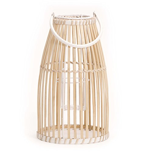 (WHW Whole House Worlds Key West Bamboo Cage Hurricane Lantern, White Metal Frame, Loop Handle, Glass Insert, 9 3/4 Diameter x 17 1/4 Tall Inches)