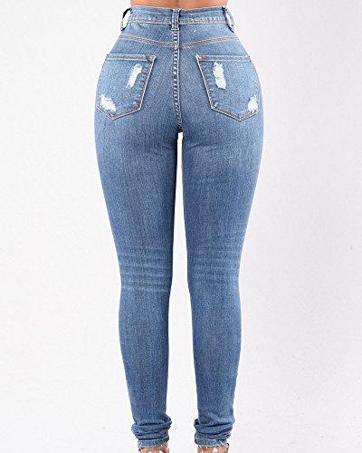 Vaqueros Mujeres Slim Fit Simple Cintura Media Desgarro Skinny Pantalones De Mezclilla Azul Claro