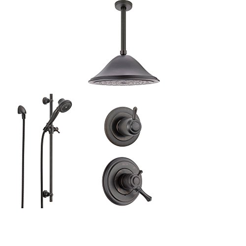 (Delta Cassidy Venetian Bronze Shower System with Dual Control Shower Handle, 3-setting Diverter, Large Ceiling Mount Rain Showerhead, and Handheld Shower SS179784RB)