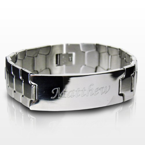 Personalized Engraved Mens Stainless Steel ID Bracelet - Father's Day, Retirement, Birthdays, Christmas (Retirement Cookies)