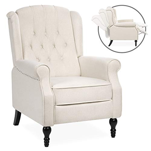 Best Choice Products Tufted Upholstered Wingback Push Back Recliner Armchair for Living Room, Bedroom, Home Theater Seating with Padded Seat and Backrest, Nailhead Trim, Wooden Legs, Beige (Chair Reading Bedroom)