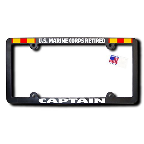 - US Marine Corps Retired CAPTAIN License Frame w/Reflective Text & Expeditionary Ribbons