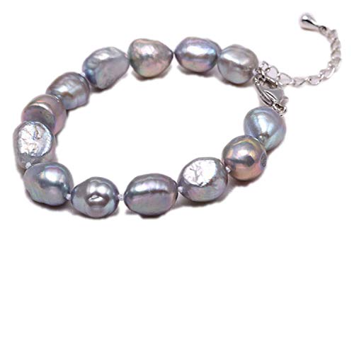 xiaoxiaoland 9-10mm Baroque Bracelet Natural White Freshwater Pearl Bracelet for Women,Gray