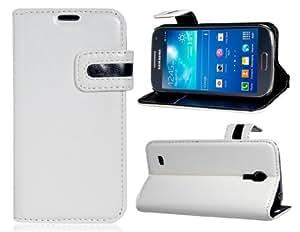 Caso del tirón del cuero del Faux para Samsung S4 Mini (blanco)