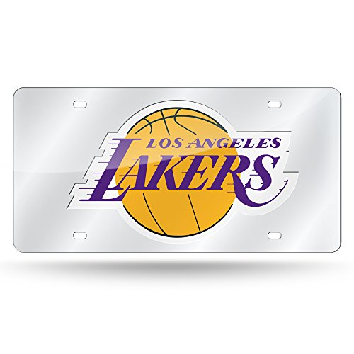 Lakers Auto - Rico Industries NBA Los Angeles Lakers Laser Inlaid Metal License Plate Tag, Silver
