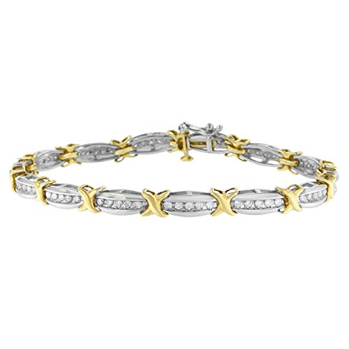 Channel Set Diamond Bracelet (Two-Tone Plated Sterling Silver Channel Set Diamond X-Link Bracelet (1 cttw, I-J Color, I2-I3 Clarity))