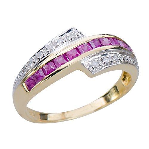 Caratera Fine Gold Jewelry Glittering Natural Rare African Ruby Gemstone 9K Yellow Gold Diamond Ring ()