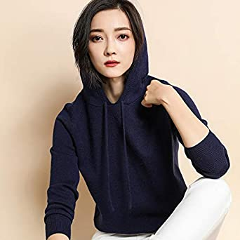 BAIMORE Womens Solid Colors Stretch Hooded Long Sleeve Loose Pullover Knit Sweater Tops