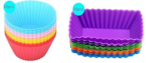 Cutequeen Trading 24pcs (12pcs Round and 12pcs Rectangular) Silicone Baking Cups / Cupcake Liners - 24-pack Vibrant Muffin Molds in Storage Container - Never Buy Paper Cups Again(pack of (Halloween Cupcake Recipes For Kids)