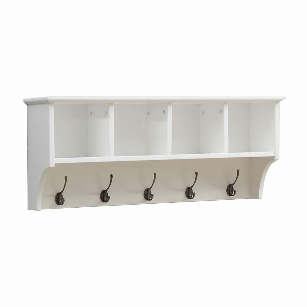LIANGJUN 壁掛け棚 物品棚レトロ ハンガー ハンギングコート 多目的 強い支持 、3/4グリッド 、2サイズ 、2色 (色 : 白, サイズ さいず : 85x18x35cm) B07JQRHP4K 白 85x18x35cm