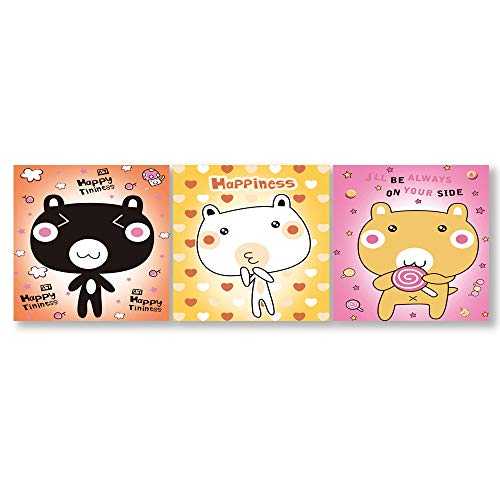 3 Panel Lovely Cartoon Kitty Painting Wall Bedroom Living Room 24 Panels