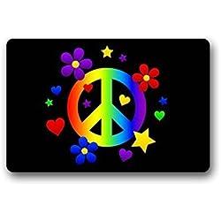 """TSlook Doormat Peace Sign Colorful Indoor/Outdoor/Front Welcome Door Mat(30""""x18"""",L x W)"""