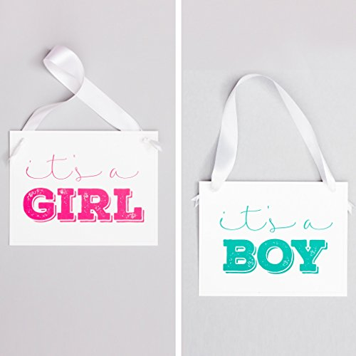 Its A Boy Sign (It's A Girl/It's A Boy Sign Double Sided Baby Announcement for Pregnancy Gender Reveal | White)