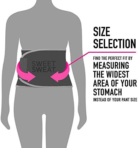 Sweet Sweat Waist Trimmer for Men & Women Black/Pink | Premium Waist Trainer Sauna Suit, Includes Sample of Sweet Sweat Gel!