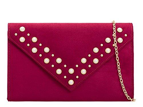 Bag Evening Faux Diamante Suede Envelope Women's Clutch Detail Pearl Burgundy 8dvxwnqYn