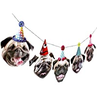 Pugs Garland, dog birthday party decoration banner, Made in USA, Best Quality
