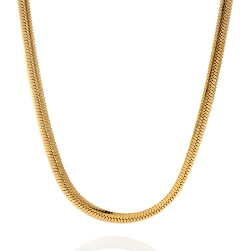 4mm thick 18K gold plated on solid sterling silver 925 Italian Herringbone chain necklace bracelet anklet with lobster claw clasp jewelry - 15, 20, 25, 30, 35, 40, 45, 50, 55, 60cm ()