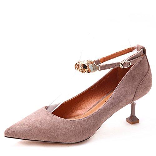 Single MDRW Work Suede Heels Lady Grey Spring Heel Leisure Fine Mouth Shallow 36 Shoe Metal Elegant 6Cm Fine Heel Clasp 4r8xr