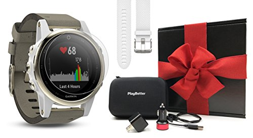 (Garmin Fenix 5S Sapphire (Champagne with Suede Band) Gift Box Bundle | Includes Extra Band (White), Screen Protector, PlayBetter USB Car/Wall Adapters, Protective Case | Multi-Sport GPS Watch)