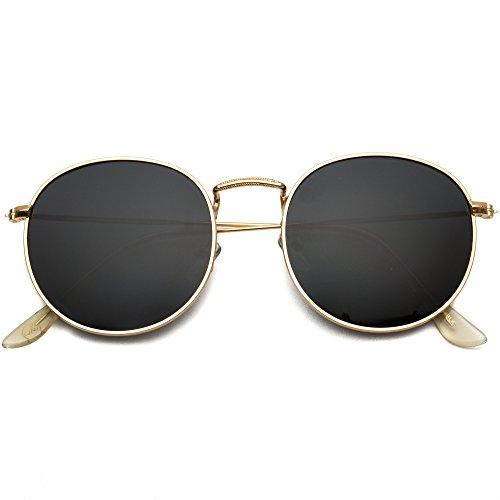 WearMe Pro - Reflective Lens Round Trendy Sunglasses (Gold Frame/Black Lens, 51) by WearMe Pro (Image #5)
