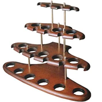 Dr Watson - 15 Tobacco Smoking Pipe / Pipes Stand Rack Hold Case Display -  Arch XV - Solid wood, Brass